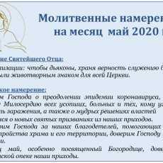 Молитвенные намерения  на месяц  май 2020 г.